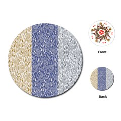 Flower Floral Grey Blue Gold Tulip Playing Cards (Round)