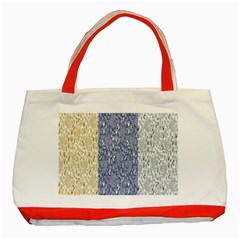 Flower Floral Grey Blue Gold Tulip Classic Tote Bag (Red)