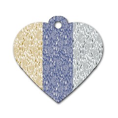 Flower Floral Grey Blue Gold Tulip Dog Tag Heart (two Sides)