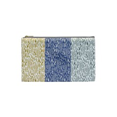 Flower Floral Grey Blue Gold Tulip Cosmetic Bag (Small)