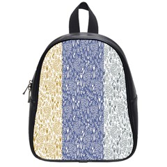 Flower Floral Grey Blue Gold Tulip School Bags (small)