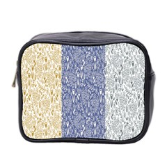 Flower Floral Grey Blue Gold Tulip Mini Toiletries Bag 2-Side