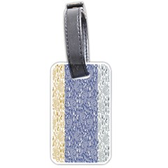 Flower Floral Grey Blue Gold Tulip Luggage Tags (One Side)