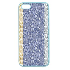 Flower Floral Grey Blue Gold Tulip Apple Seamless iPhone 5 Case (Color)