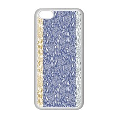 Flower Floral Grey Blue Gold Tulip Apple iPhone 5C Seamless Case (White)