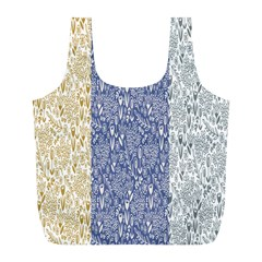 Flower Floral Grey Blue Gold Tulip Full Print Recycle Bags (L)