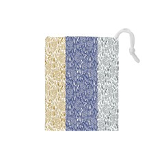 Flower Floral Grey Blue Gold Tulip Drawstring Pouches (Small)