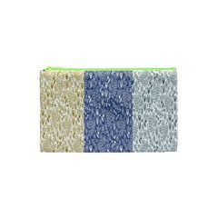 Flower Floral Grey Blue Gold Tulip Cosmetic Bag (XS)