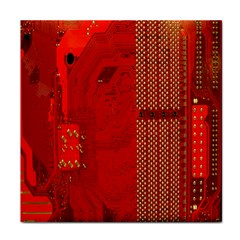 Computer Texture Red Motherboard Circuit Tile Coasters