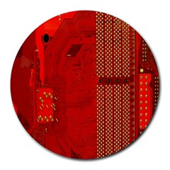 Computer Texture Red Motherboard Circuit Round Mousepads