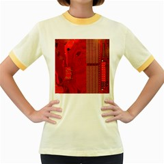 Computer Texture Red Motherboard Circuit Women s Fitted Ringer T-Shirts