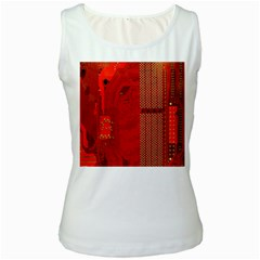 Computer Texture Red Motherboard Circuit Women s White Tank Top