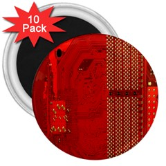 Computer Texture Red Motherboard Circuit 3  Magnets (10 Pack)