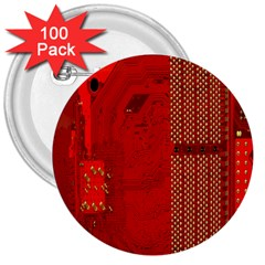 Computer Texture Red Motherboard Circuit 3  Buttons (100 Pack)