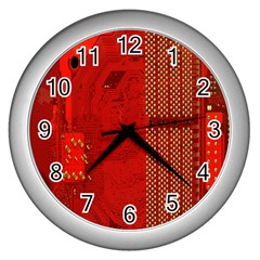 Computer Texture Red Motherboard Circuit Wall Clocks (silver)