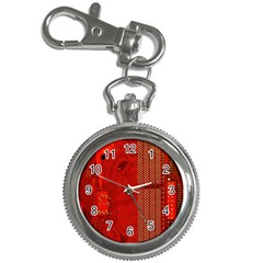 Computer Texture Red Motherboard Circuit Key Chain Watches