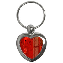 Computer Texture Red Motherboard Circuit Key Chains (Heart)
