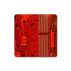 Computer Texture Red Motherboard Circuit Square Magnet