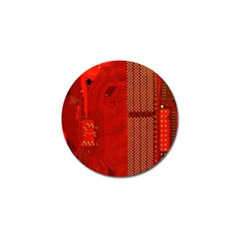 Computer Texture Red Motherboard Circuit Golf Ball Marker
