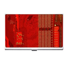Computer Texture Red Motherboard Circuit Business Card Holders