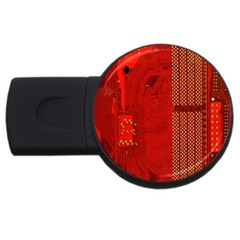 Computer Texture Red Motherboard Circuit USB Flash Drive Round (1 GB)