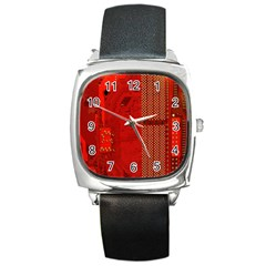 Computer Texture Red Motherboard Circuit Square Metal Watch