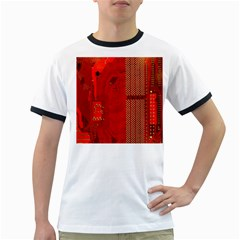 Computer Texture Red Motherboard Circuit Ringer T-Shirts