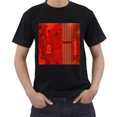 Computer Texture Red Motherboard Circuit Men s T Shirt (black) (two Sided)