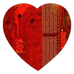 Computer Texture Red Motherboard Circuit Jigsaw Puzzle (Heart)