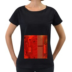 Computer Texture Red Motherboard Circuit Women s Loose-Fit T-Shirt (Black)