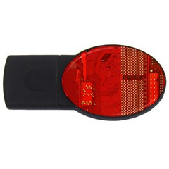 Computer Texture Red Motherboard Circuit USB Flash Drive Oval (4 GB)