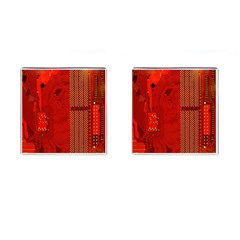 Computer Texture Red Motherboard Circuit Cufflinks (Square)