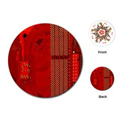 Computer Texture Red Motherboard Circuit Playing Cards (Round)