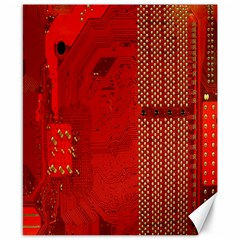 Computer Texture Red Motherboard Circuit Canvas 8  X 10