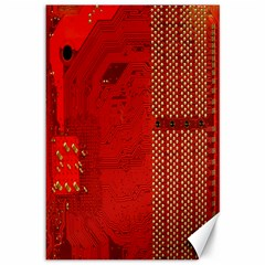Computer Texture Red Motherboard Circuit Canvas 12  x 18