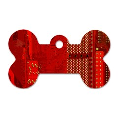 Computer Texture Red Motherboard Circuit Dog Tag Bone (Two Sides)