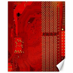 Computer Texture Red Motherboard Circuit Canvas 11  X 14