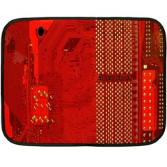 Computer Texture Red Motherboard Circuit Double Sided Fleece Blanket (mini)