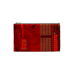 Computer Texture Red Motherboard Circuit Cosmetic Bag (small)