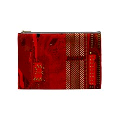 Computer Texture Red Motherboard Circuit Cosmetic Bag (Medium)