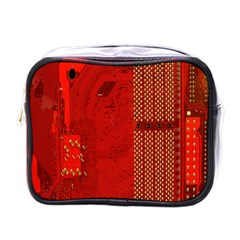 Computer Texture Red Motherboard Circuit Mini Toiletries Bags