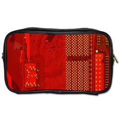 Computer Texture Red Motherboard Circuit Toiletries Bags