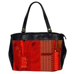 Computer Texture Red Motherboard Circuit Office Handbags (2 Sides)