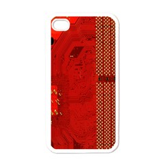 Computer Texture Red Motherboard Circuit Apple iPhone 4 Case (White)