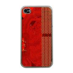 Computer Texture Red Motherboard Circuit Apple iPhone 4 Case (Clear)