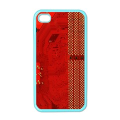 Computer Texture Red Motherboard Circuit Apple iPhone 4 Case (Color)