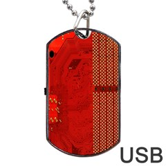 Computer Texture Red Motherboard Circuit Dog Tag USB Flash (One Side)