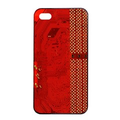 Computer Texture Red Motherboard Circuit Apple iPhone 4/4s Seamless Case (Black)