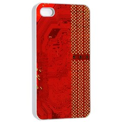 Computer Texture Red Motherboard Circuit Apple iPhone 4/4s Seamless Case (White)