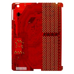 Computer Texture Red Motherboard Circuit Apple iPad 3/4 Hardshell Case (Compatible with Smart Cover)